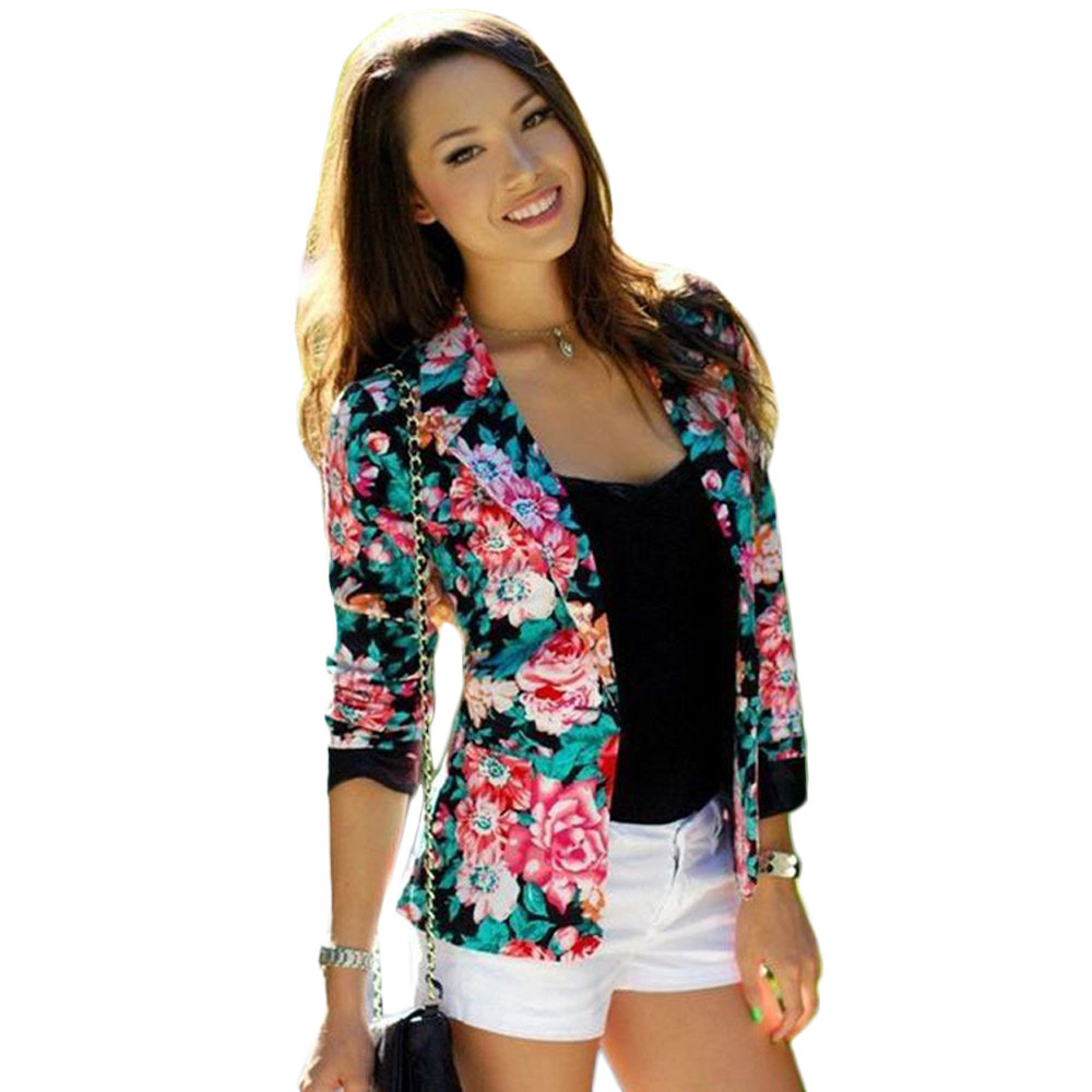 2016 New Spring Floral Blazer Outwear Jackets Womens ...