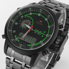 Fashion Waterproof Sports Watches Men Full Steel Analog Digital Dress Watch Military Wristwatch Multifunctional LED Diving Clock