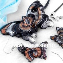 2016 Sapphire Jewelry Fashion Butterfly And Silverfoil Lampwork Murano Glass Necklace Earrings Set,jewelry Set Hotfree Shipping (China (Mainland))