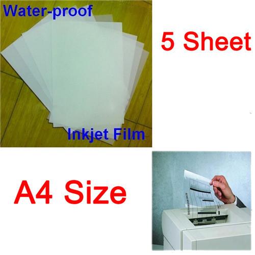 A4 Waterproof Mil Inkjet Printer Transparency Film Paper Screen Printing FT-100 Super Transfer Film 5 Sheet/Set(China (Mainland))