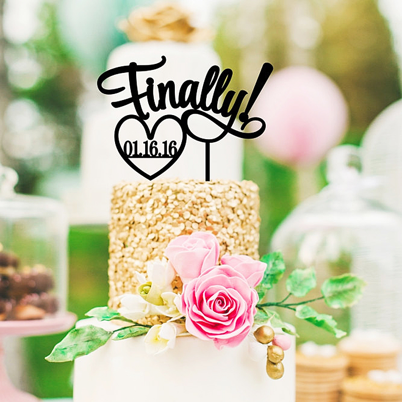 """Fast Custom Wedding Cake Topper Personalized """"Finally"""" cake topper with Wedding Date Acrylic Glitter colors topper for cake(China (Mainland))"""
