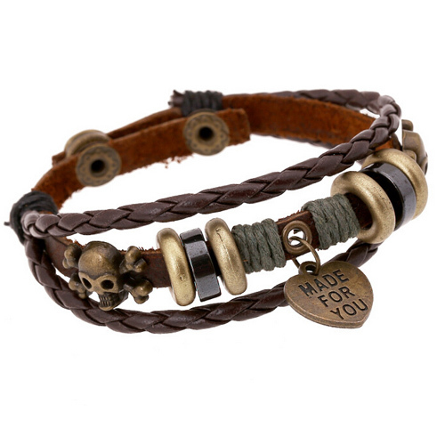 Punk 2015 Heart Pendants Vintage Friendship Bracelets For Best Friends, Brown Leather Braided Skull Rivet Cuff Bracelets Bangles(China (Mainland))