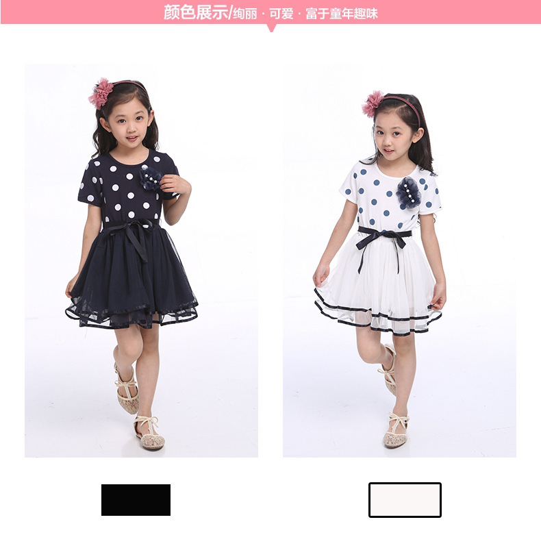 Free shipping!Girls' fashion knee-length with dot dressing,black or white(China (Mainland))