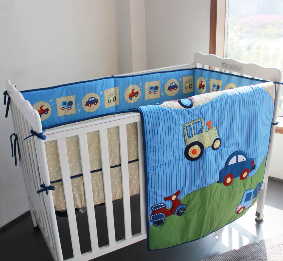 Promotion! 3pcs Embroidery Cot piece Set 100%Cotton crib set cot bedding set, ,include (bumpers+duvet+bed cover)<br><br>Aliexpress