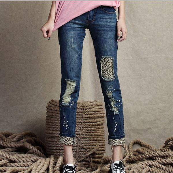 2014 Fashion Trendy Hole Women Denim Jeans Ladies Casual Leopard ...