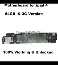 64 ГБ 100% Матч С Оригинальным материнская плата Для Ipad 4 Официальный 3 Г Versionn Разблокирована Плата IOS с полной чипов Логики доска