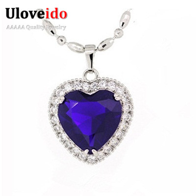 60% Off Titanic Pendant Necklace With Blue Crystal Heart Stone Quartz Ocean Pingente Sapphire Jewelry for Women Uloveido SYA58(China (Mainland))