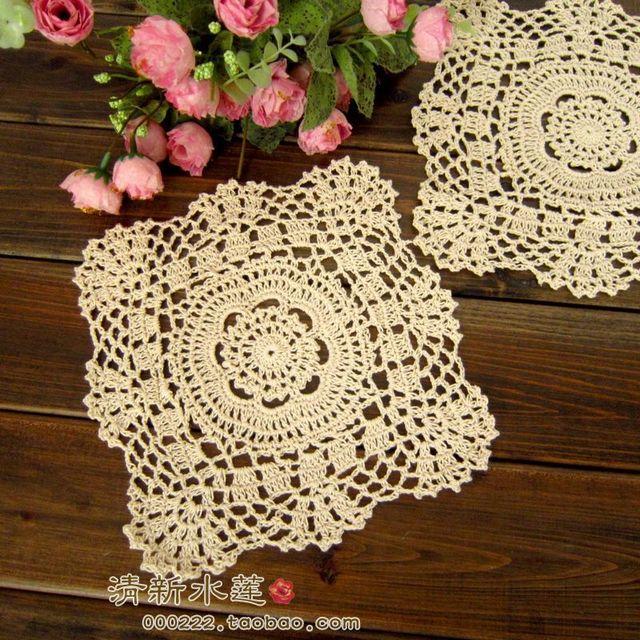 wholesale cotton hand made crochet doily, lace cup mat,  coaster 22cm square table mat 12PCS/LOT