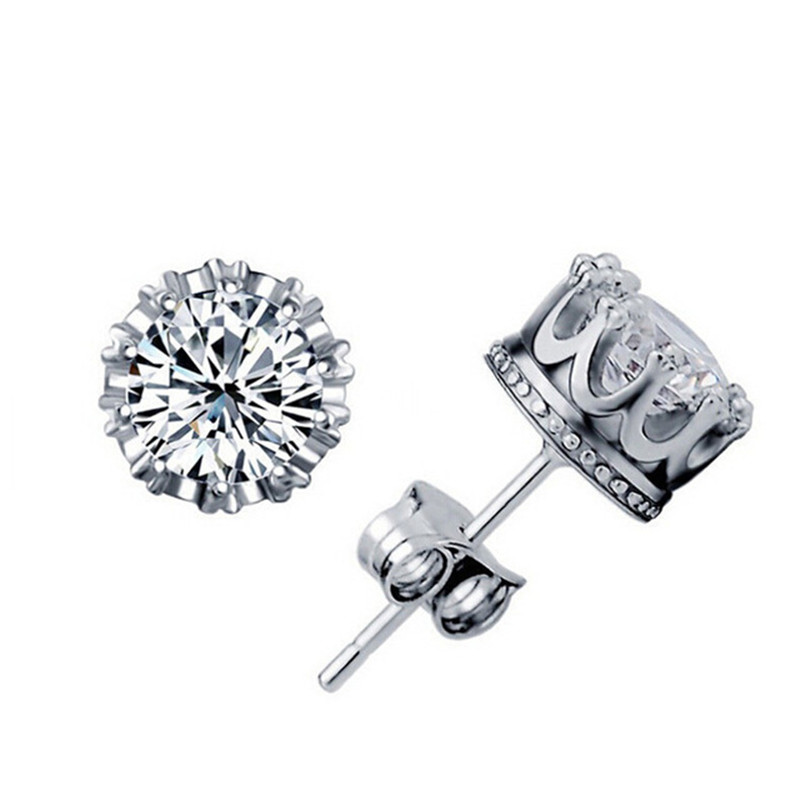 2 Pairs Sliver plated Fashion Jewelry 8MM Round 2 Carat Cubic Zirconia Silver Stud Earrings for Women(China (Mainland))