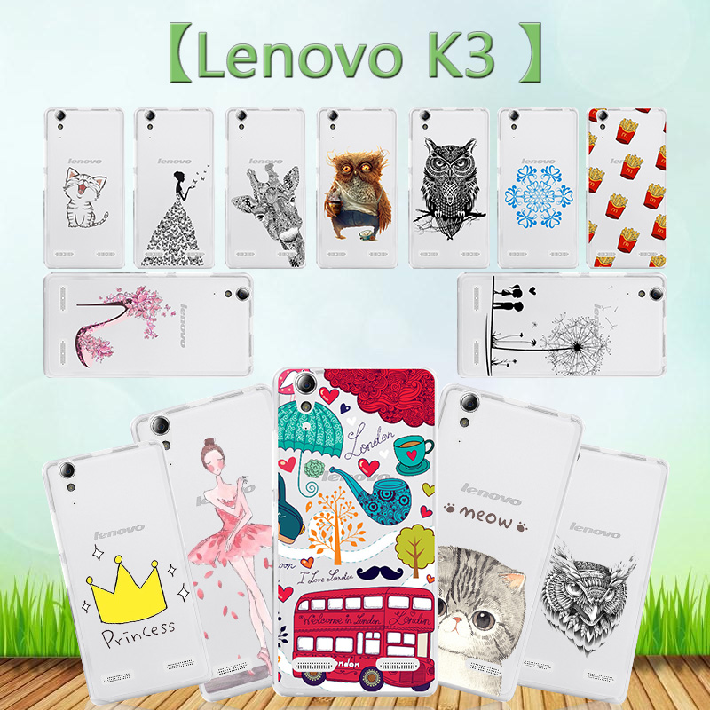 TPU Soft Cover For Lenovo K3 Owl Brown Eagle Fries Skull Fries Deer pinky high-heeled shoes Bus couple dancing girl 25 Pattern(China (Mainland))