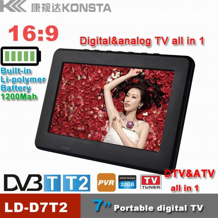Leadstar,7 inch 16:9 TFT DVBT2/DVBT Digital & Analog Mini led Portable Car TV all in 1 Support USB Record TV Program(China (Mainland))
