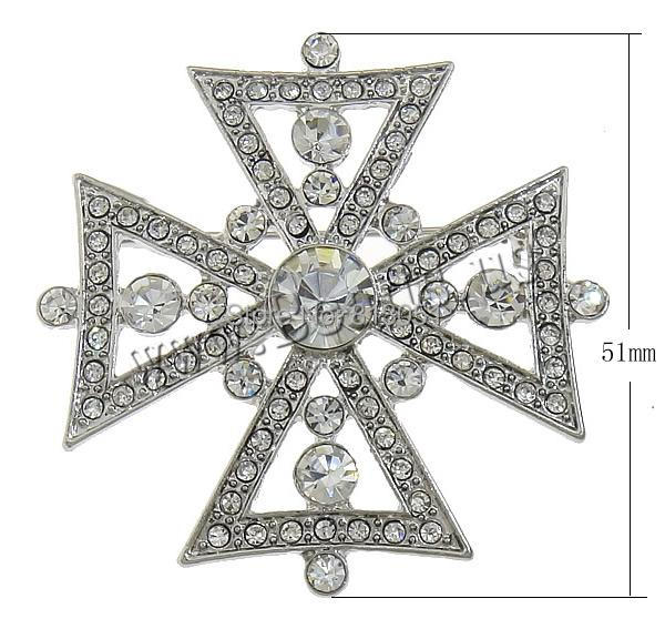 Free shipping!!!Rhinestone Brooch,2014 new famous fashion brand, Zinc Alloy, Cross, platinum color plated, with rhinestone<br><br>Aliexpress