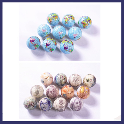 2015 Newest 4pcs/lot Surlyn Golf Balls Currency/Map Special Design Range Two Piece Ball Sticker Ball Free Shipping(China (Mainland))