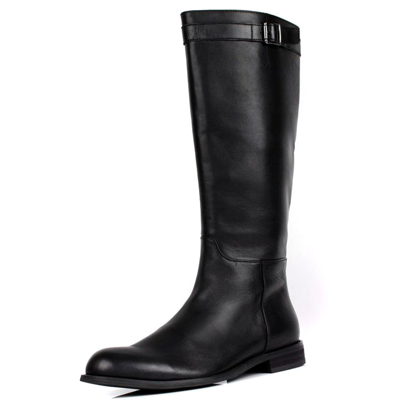 large size mens knee high boots fashion black genuine