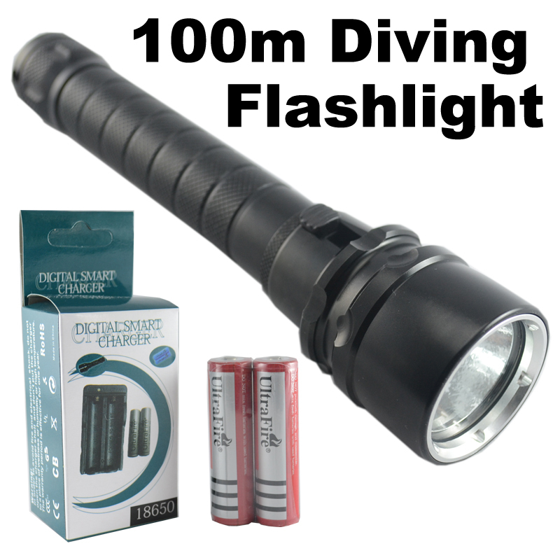 CREE XM-L T6 LED 1200 Lumen Waterproof Diver Diving Flashlight Torch 100m 2x 18650 battery Charger