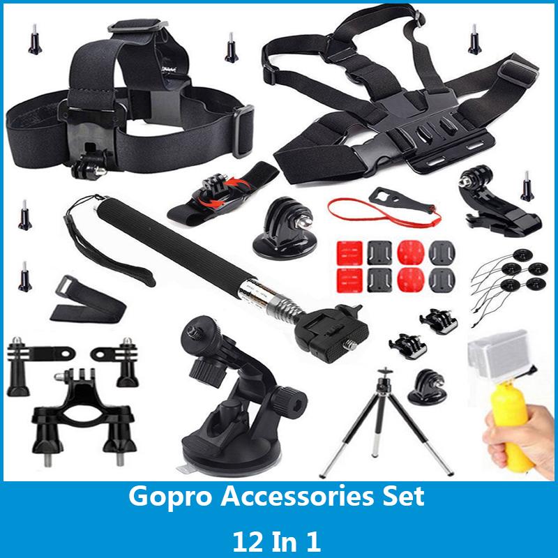 Gopro Accessories Set Gopro Rotation Wrist Strap+Helmet Extention Kits Mount+Chest Belt Mount +Bobber+For Gopro Hero 4/3+/3/2<br><br>Aliexpress