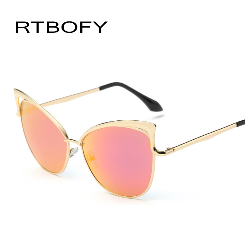 2017 fashion sexy lady cat eye sunglasses women metal big frame brand designer mirror cateye sun glasses vintage female vogue