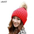 Hot Sale Women Cap Echo657 New Fashion Women Winter Casual Fur Ball Warm Hat Crochet Knitted