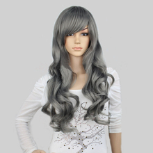 2016 hot sale Cheap good quality Synthetic grey cosplay wigs 24''long Wavy female resistic looking wigs of kanekalon for sale(China (Mainland))