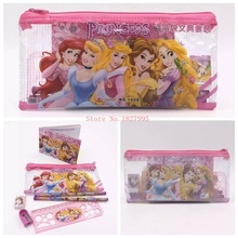 New Sale 10 Sets Snow White Princess School & Office 7 IN 1 Pencil Bag Pencils Ruler Netbook Eraser Toys & Hobbies kid gift(China (Mainland))