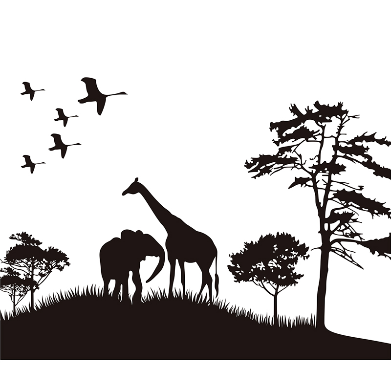 BIG SIZE Safari Africa Animals Wall Sticker Elphant Tree Grass Wall Animal Room Wall Sticker Home Decorative Decor Decal Giraffe