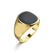 Hot Sale Men Gold Ring Italina Brand Jewelry Man Rings Black Drop Oil Party Ring bague homme 90650(China (Mainland))