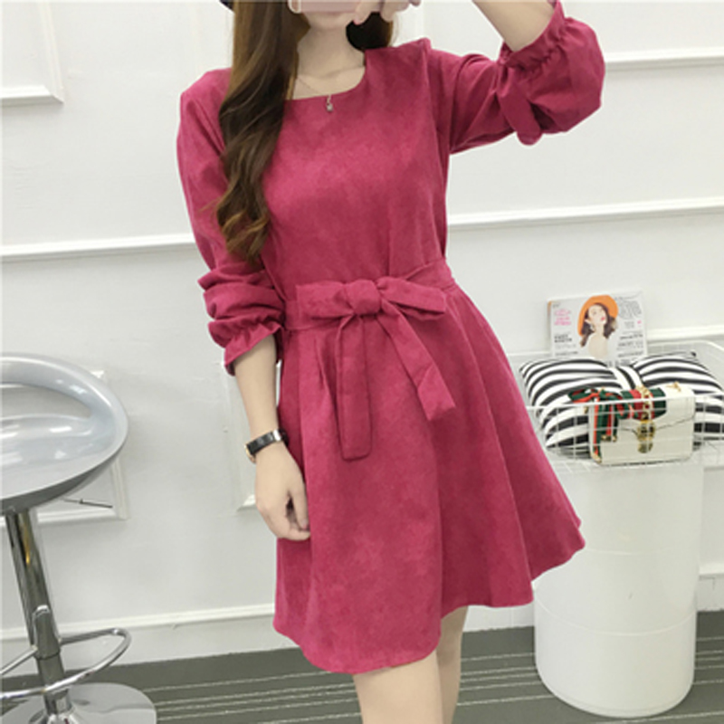 Large size ladies' fat MM autumn dress with long sleeves han edition cultivate one's morality show thin waist fashion high waist(China (Mainland))