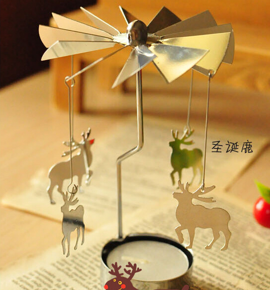 2015 Hot sales Free shipping Revolving door Windmill Rotation Candlestick Candleholder Candle Tea Light Holder holiday gift(China (Mainland))