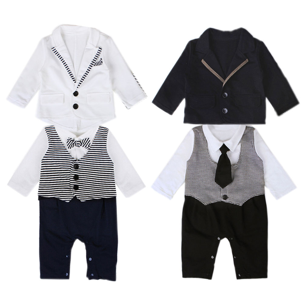 [Definitely Adorable] Baby Boy Clothes Formal Little Gentleman Tie Suit + Rompers Toddler Kids Birthday Baptism Outfits YM13TZ(China (Mainland))