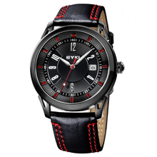 Korea Big Dials EYKI Watches For Men Clear Scale Accurate Travel Time Quartz Genuine Leather Men's Wrist Watch Luminous hands(China (Mainland))