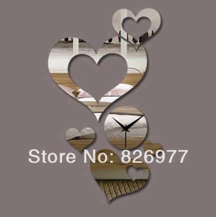 3D Diy Mirror Wall Clocks Heart With Hearts Vintage