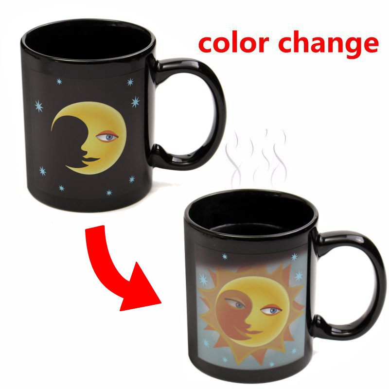 Sun and Moon Magic Mug Heat Sensitive Color Change Coffee Milk Tea Cup Mug Water Bottle Unique Gift For Home Office Use(China (Mainland))