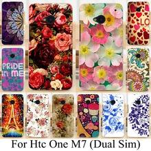 Живопись телефон чехол оболочки кожи для HTC M7 802 Вт 802D 802 т ( Dual Sim ) красивый цветок окрашенные заднюю крышку роза пион чехол