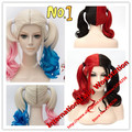 Hot sell Batman Comics Movie Suicide Squad Harley Quinn Cosplay Blonde Wig HairCurly Gradient Wigs Heat
