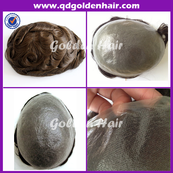 Cheap price full Injected super thin skin toupee(China (Mainland))