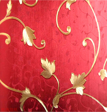 gold foil red flower pvc embossed washable background wallpaper with 3 colors selection by free shipping(China (Mainland))