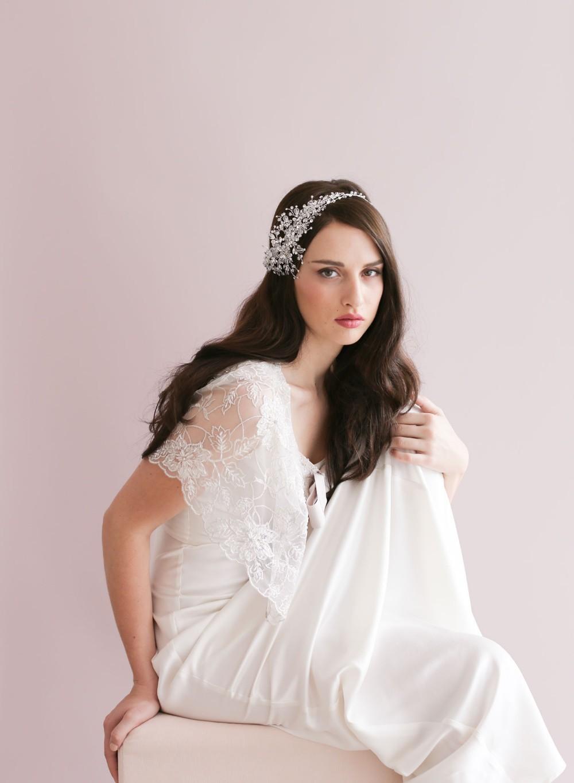 Новое поступление 2015 серебряных красивая свадьба повязка на голову кристаллы груши Handwear свадебные аксессуары для волос бесплатная доставка