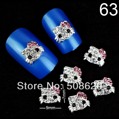 12Pcs Mixed 3D Clear Alloy Rhinestone Hello Kitty Nail Art Stickers Tips DIY Decorations Bowknot 7x9mm(China (Mainland))