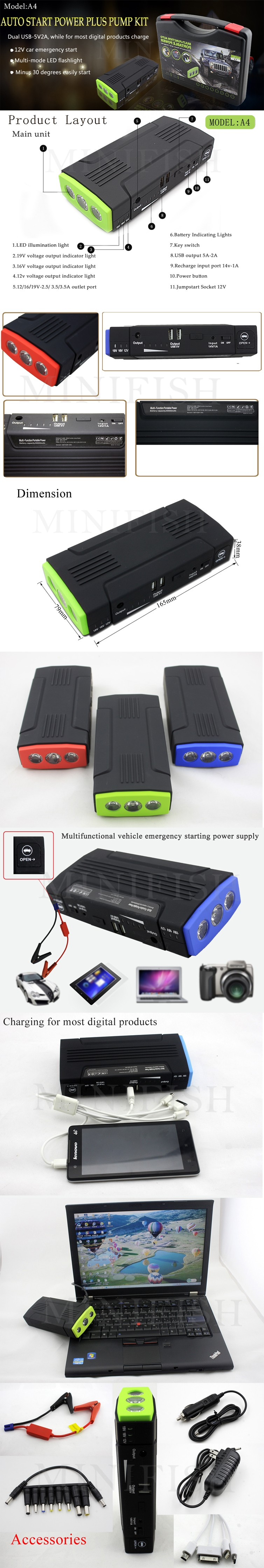 MiniFish Best Selling Products 68000mAh Batteries Charger Portable Mini Car Jump Starter Booster Power Bank For A 12V Car