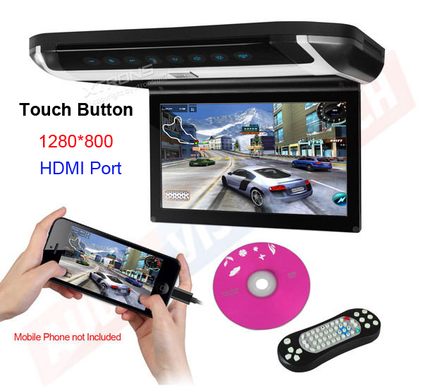 """10"""" Digital TFT Car Overhead Monitor 1280*800 HDMI Touch Button 32bits Game DVD USB SD FM/IR, auto roof mounted ceiling dvd TV(China (Mainland))"""