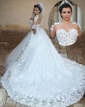 Buy Robe de mariage Princess Long Wedding Dress 2017 Sheer Neck Long Sleeves Ball Gown Chapel Train Appliques Tulle Bride Dresses for $153.09 in AliExpress store
