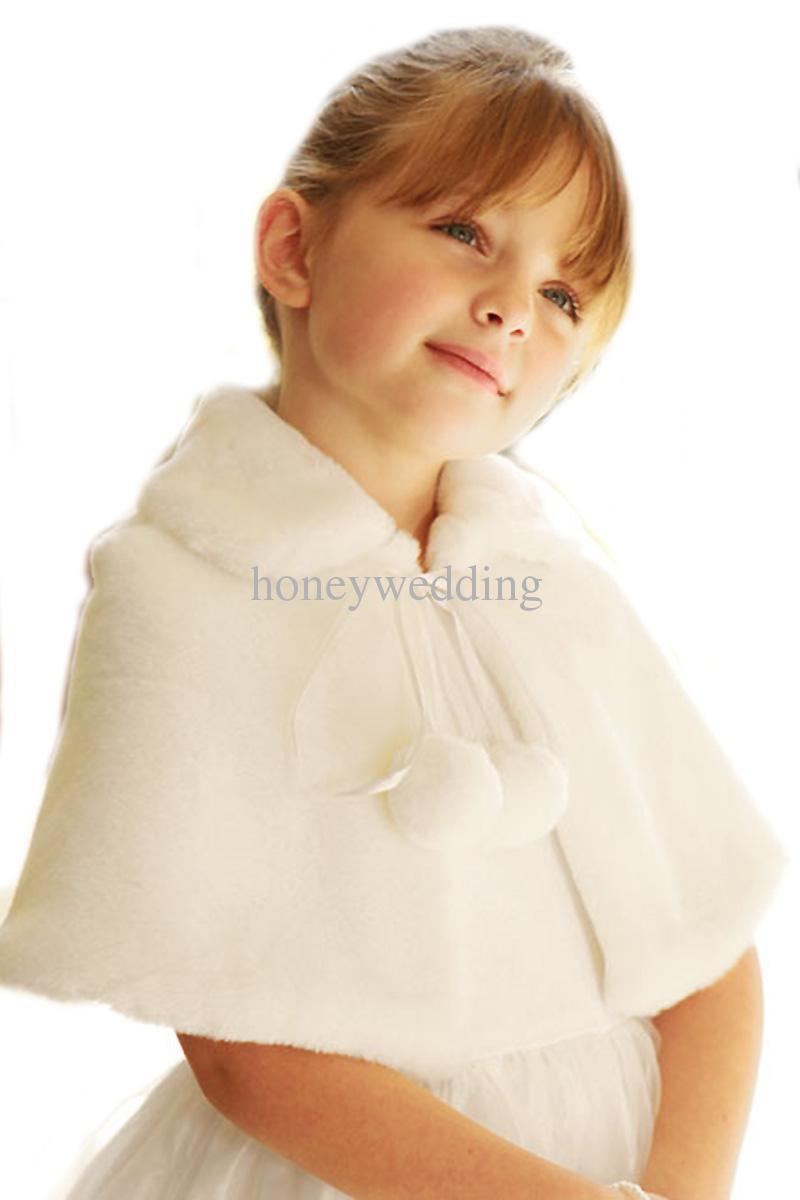 Blanco marfil flor del banquete de boda Faux Fur robó los abrigos niños otoño invierno chaquetas encogimiento de hombros en Stock(China (Mainland))