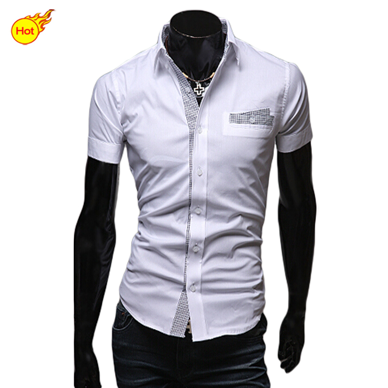 Men shirt casual slim fit dress shirts korea style short for Fitted short sleeve dress shirts for men