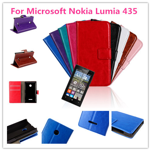 Crazy Horse PU Leather Wallet Case For Microsoft Nokia Lumia 435 Free1 Mini Stylus 1 Screen Flim(China (Mainland))