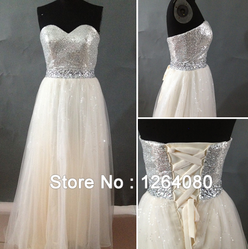 2014 new sweetheart beading sequined champagne tulle for Long wedding dresses under 100