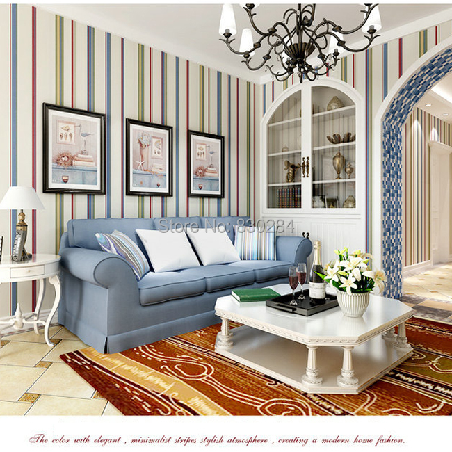 Modern blue striped wallpaper roll pure paper stripes wall for Striped wallpaper living room