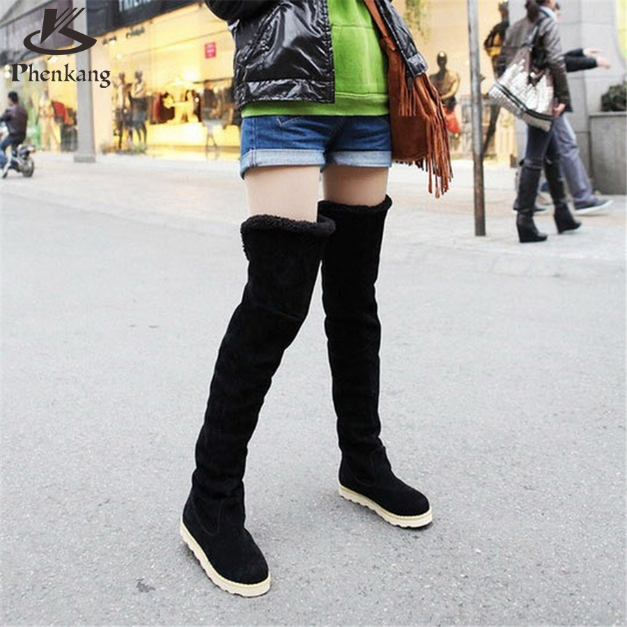 2016 New autumn winter snow boots women flat high knee boots plus velvet shoes Korean version thin boots US size 8.5 with fur(China (Mainland))