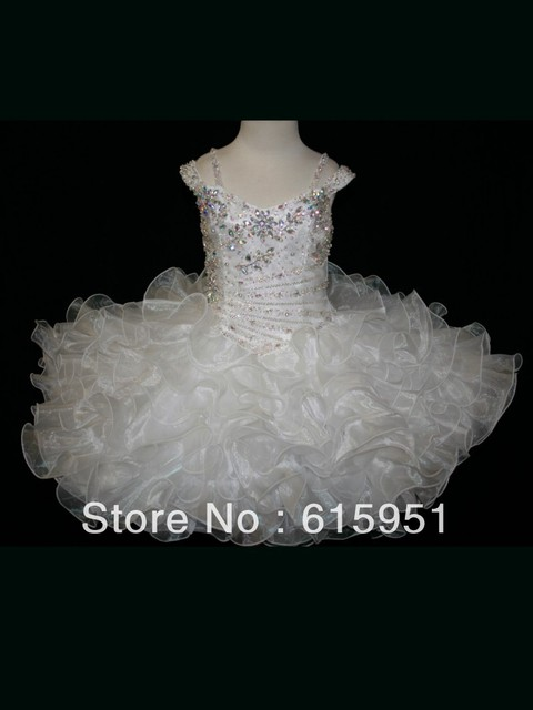 Winning Little Rosie Glitz Toddler Pageant Gown Beaded Off The Shoulder Little Short Pageant Dress JY238