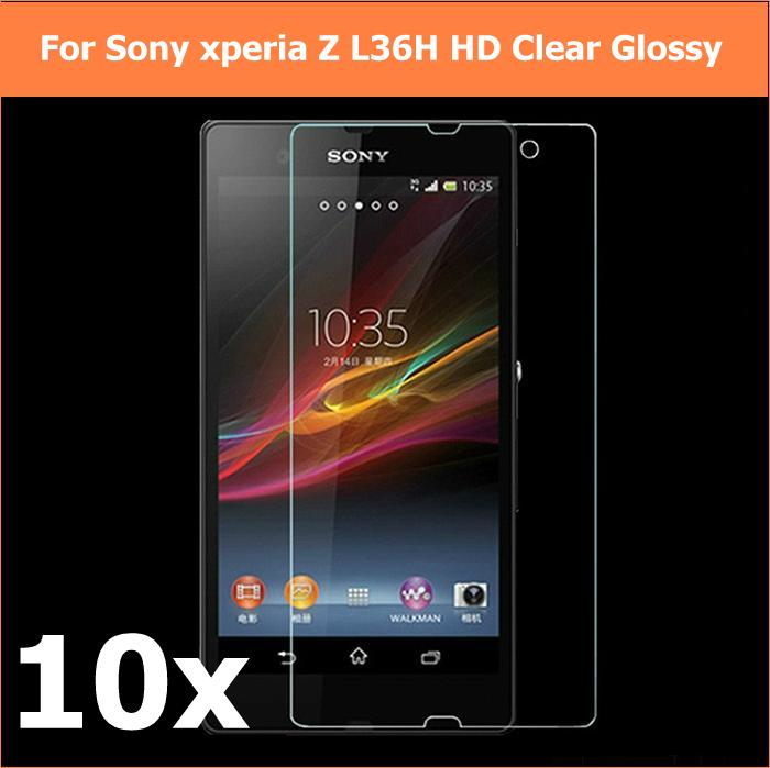 10pcs HD Lcd clear glossy of screen protector films For sony xperia z L36H panel Strong viscous 10front+10cloth+10retail package(China (Mainland))