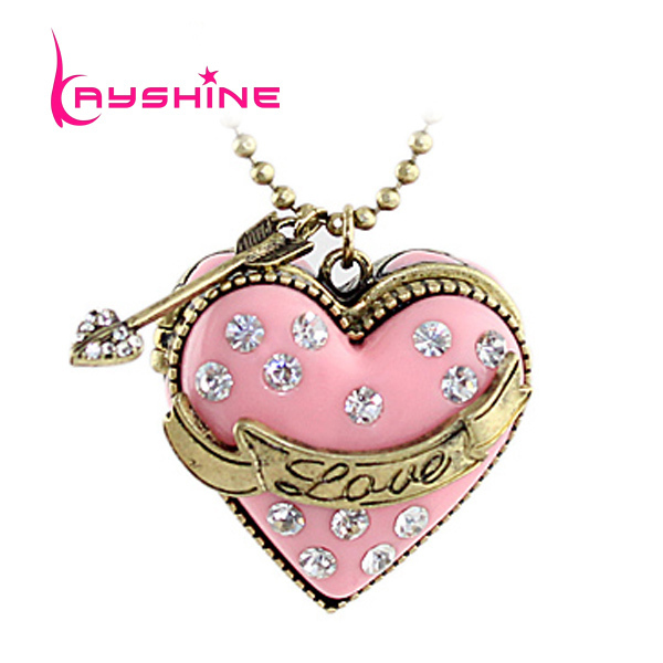 Vintage Jewelry Wholesale Items Gold Alloy Chain Pink Enamel Heart Openable Box Rhinestone Key Pendent Necklace(China (Mainland))